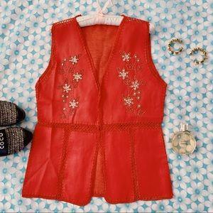 Vtg 70s Vegan Leather Boho Beaded Vest
